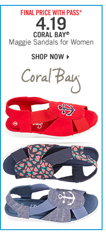 Final Price* 4.19 Coral Bay Maggie Sandals