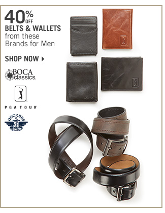 Shop 40% Off Select Belts & Wallets for Men
