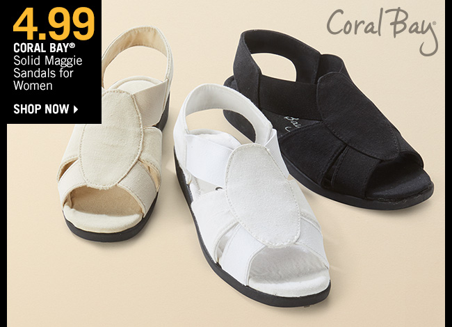 Shop 1.99 Coral Bay Solid Maggie Sandals for Women