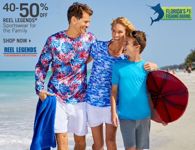 Shop 40-50% Off Reel Legends Sportswear for the Family