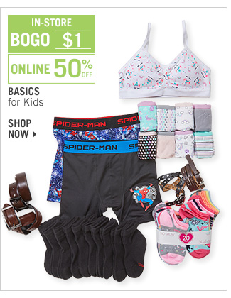 Shop 50% Off Basics for Kids - BOGO $1 In-Store
