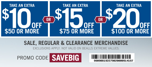 $10 Off $50+, $15 Off $75+, or $20 off $100 | Code SAVEBIG | Get Coupon | Exclusions Apply
