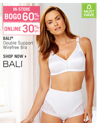 Shop 30% Off Bali Double Support Wirefree Bra - BOGO 60% Off In-Store