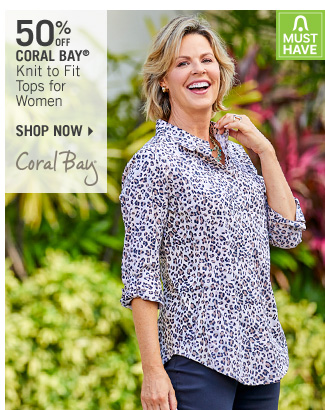 Shop 50% Off Coral Bay Knit to Fit Tops