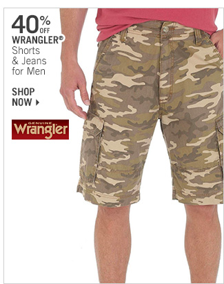 Shop 40% Off Wrangler Shorts & Jeans for Men