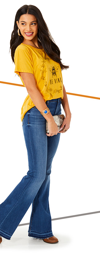 Woman in yellow t-shirt and jeans